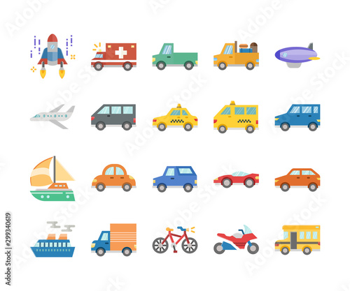 Garden Poster Cartoon cars public car and transports flat design icon set, vector and illustration
