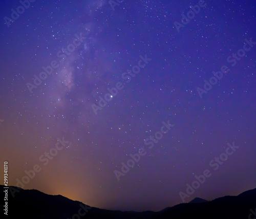 Foto auf Gartenposter Violett Milky Way at night sky with stars.