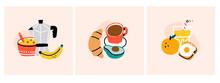 Morning. Healthy Breakfast. Cereals, Tea Or Coffee Pot And Banana, Juice, Croissant, Avocado, Egg, Orange. Set Of Three Hand Drawn Trendy Vector Illustrations. Cartoon Style. Flat Design.