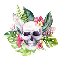 Human Watercolor Skull With Floral Tropical Bouquets. Mexican Day Of The Dead. Tropic Head Vintage Helloween Illustration. Retro Tattoo Death Design Retro Drawing