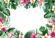 Leinwandbild Motiv Set of bright watercolor tropical monstera leaves. bouquet tropic palm leaf, flower and branches from the jungle. Exotic background botanical design hawaii