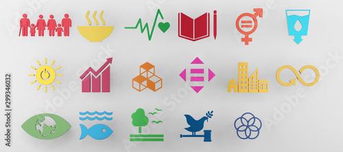 Obraz Sustainable Development Goals set seventeen colorful icon. 3D rendering - fototapety do salonu