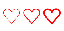 Set Of Hand Drawn Heart. Handdrawn Hearts Isolated On White Background. Vector Illustration For Your Graphic Design