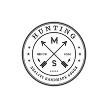 Logo For Hunting With Arrow Elements, Outdoor Logo With Vintage Emblem Style