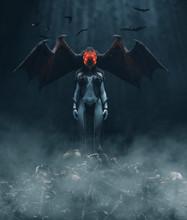 Monster In The Dark,woman Creatures,3d Illustration **3d Figures