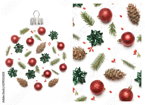 Fotomural  Christmas decoration items isolated on white background, top view
