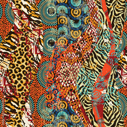 mata magnetyczna African traditional fabric and wild animal skins patchwork wallpaper abstract vector seamless pattern
