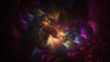 Abstract Transparent Purple And Golden Crystal Shapes. Fantasy Light Background. Digital Fractal Art. 3d Rendering.