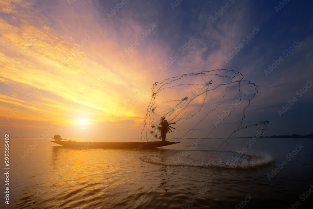 Fototapety, obrazy: Beautiful sunrise from the lake Pakpra
