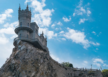 Castle Of Swallow's Nest On The Top Of Aurora Cliff In Crimea
