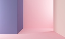 Abstract Geometric Background With Pink And Lilac Wall. Backdrop Design For Product Promotion. 3d Rendering
