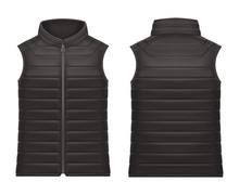 Realistic Or 3d Black Vest Jacket With Zap