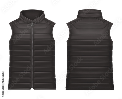 Fotografía Realistic or 3d black vest jacket with zap