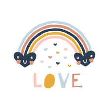 Decorative Colorful Stripy Rainbow With Cartoon Kawaii Smily Hearts. Love Paper Cut Lettering. Scandinavian Style Childish Boho Illustration Isolated On White In Vector. Nursery Poster Print Design
