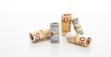 Usd And Euro Banknote Rolls Is...