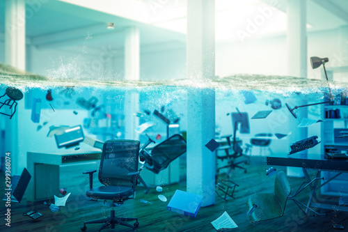 Fotomural interior of an office completely flooded