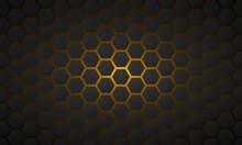 Hexagonal Dark Cells In Orange...