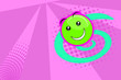 Leinwandbild Motiv Merry illustration with a green smiling ball on a pink background