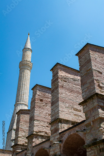 Vászonkép Istanbul, Turkey: one of the minarets of Hagia Sophia, famous former Greek Ortho