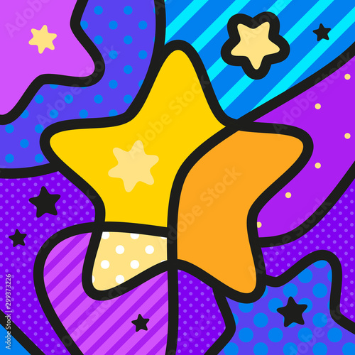 STAR SPACE pop art modern vector illustration for your design. Canvas Print