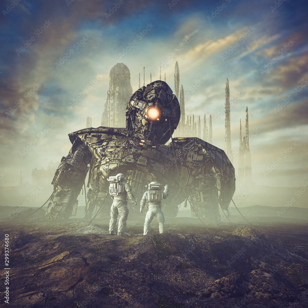 Fototapety, obrazy: Ancient guardian awakens / 3D illustration of science fiction scene showing astronauts finding giant robot in the desert outside ancient city
