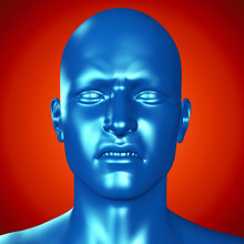 3d Illustration Of A Blue Male...