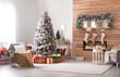 Leinwanddruck Bild - Beautiful interior of living room with decorated Christmas tree