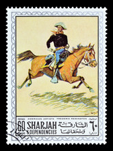 Cancelled Postage Stamp Printed By Sharjah, That Shows Painting By Frederic Remington, Circa 1968.