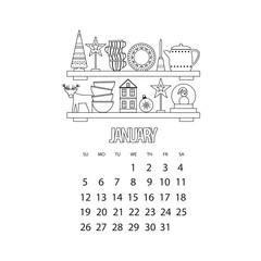 January month 2020 calendar. Kitchen shelf with utensils and winter decor, outline vector illustration with Christmas tree and deer and cups