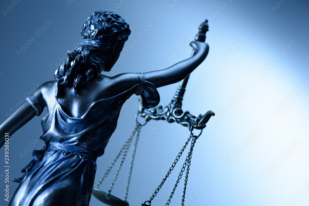 Fototapety, obrazy: Statue of justice on blue background