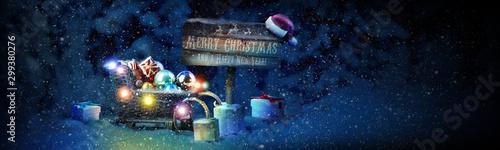 Foto auf Gartenposter London Schneemann - Weihnachtsmotiv