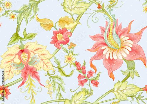Vászonkép Fantasy flowers in retro, vintage, jacobean embroidery style