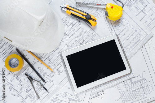 Obraz architect design working drawing sketch plans blueprints and making architectural construction model in architect studio,flat lay long banner - fototapety do salonu