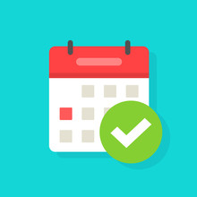 Calendar With Checkmark Or Tick Notice Icon Vector, Flat Cartoon Event Reminder With Check Mark As Approved Or Schedule Date Symbol Isolated Clipart
