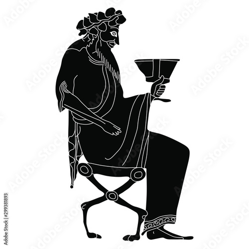 Photo Ancient Greek god Dionysus seated on throne with cup of wine