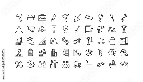 Obraz Isolated construction icon set line vector design - fototapety do salonu
