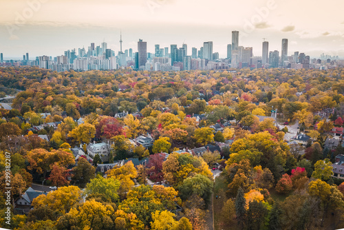 Canvas Print Autumn aerial photography of Toronto