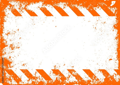 Stampa su Tela Traffic and Caution Warning Sign. Grunge Background