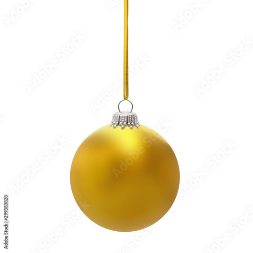 Fotografía  Goldene Weihnachtskugel am Band isoliert auf weissem Hintergrund