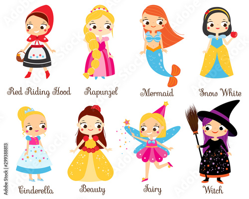 Cute fairy tales characters. Snow white, red riding hood, rapunzel, cinderella and other princess in cartoon style Fotomurales