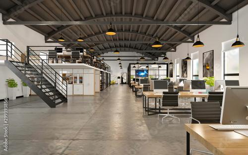 Pinturas sobre lienzo  3d render of working space, office interior