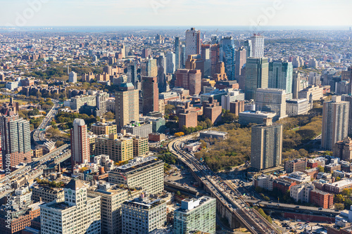 Aerial view to New York City Skyline from helicopter. Canvas Print