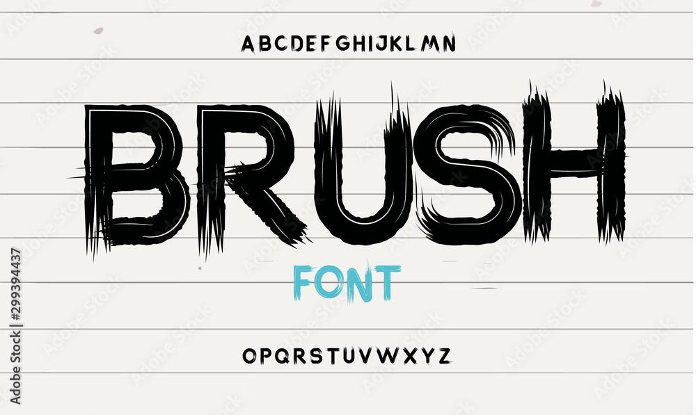 Fototapeta Hand drawn elegant calligraphy font. Modern brush lettering. Grunge style alphabet. Vector illustration.