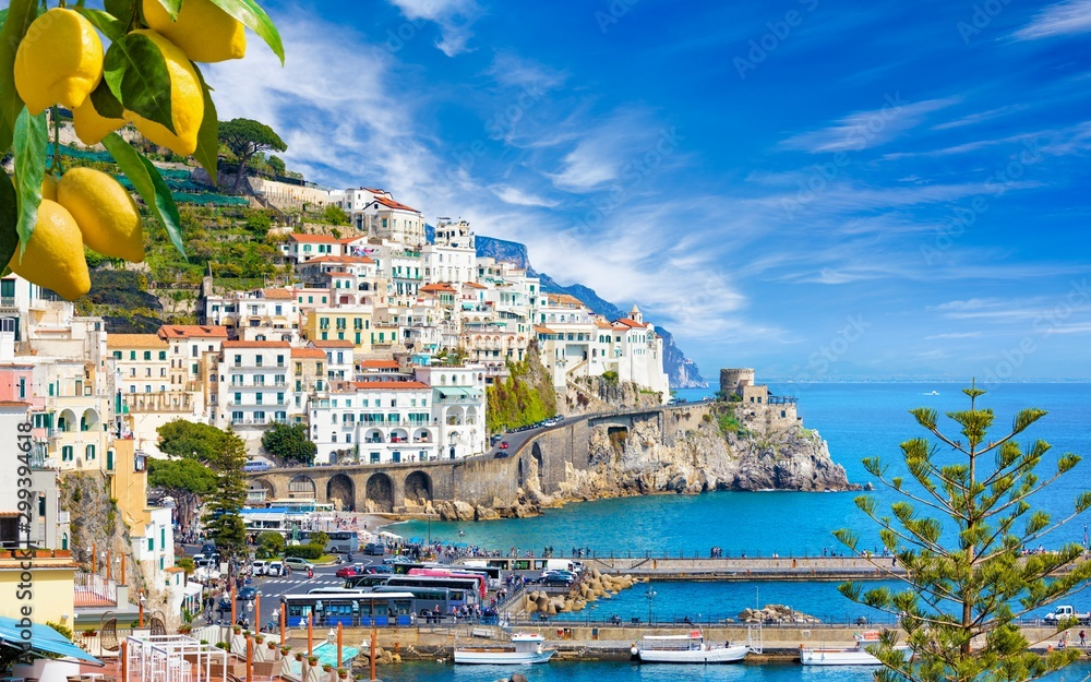 Fototapety, obrazy: Beautiful Amalfi on hills leading down to coast, Campania, Italy. Amalfi coast is most popular travel and holiday destination in Europe.