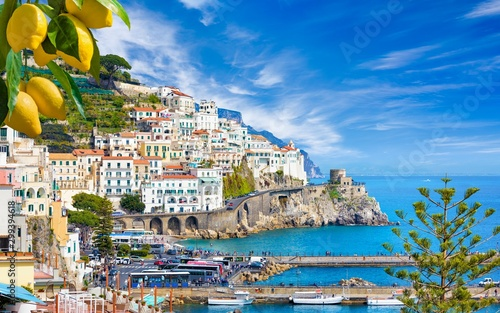 Beautiful Amalfi on hills leading down to coast, Campania, Italy. Amalfi coast is most popular travel and holiday destination in Europe.