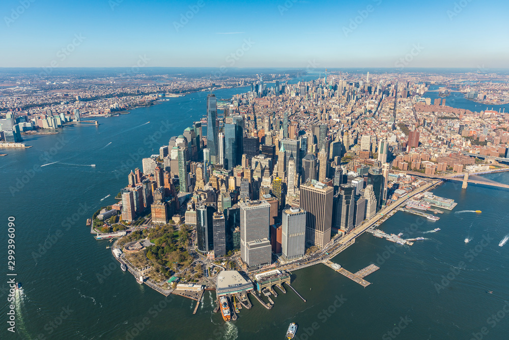 Fototapeta Aerial view to New York City Skyline from helicopter.