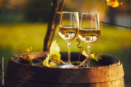 Fototapeta Two full glasses of white wine on wooden barrel in autumn obraz