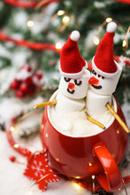 Red Mug With Hot Chocolate And...