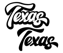Calligraphic Inscription Of American State Texas. Vector Illustration. Lettering