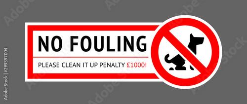 Fotografía  No dog fouling sign, modern sticker for park